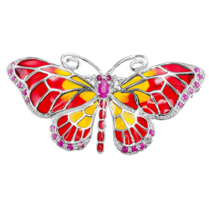 Butterfly Brooch Set with 0.3ct of Rubies