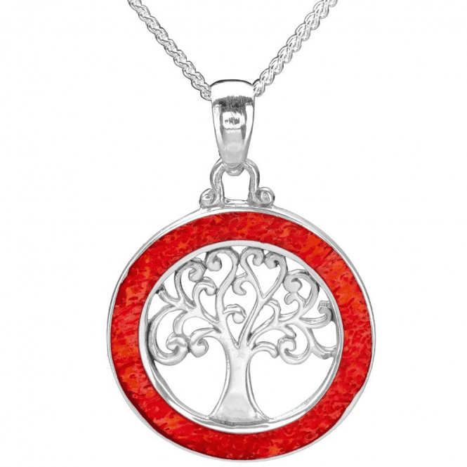 Coral Framed Tree of Life Pendant