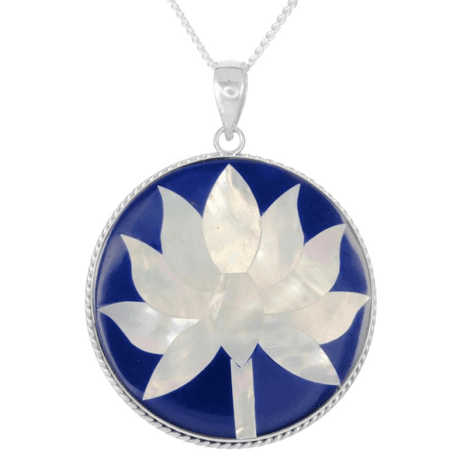 Meditation Lotus Flower Pendant in Mother of Pearl