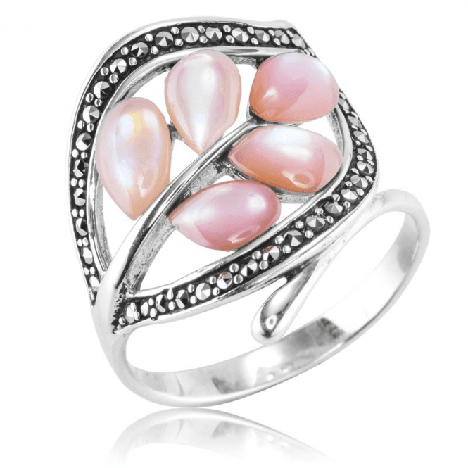 Pink Mother of Pearl & Marcasite Contrast Ring