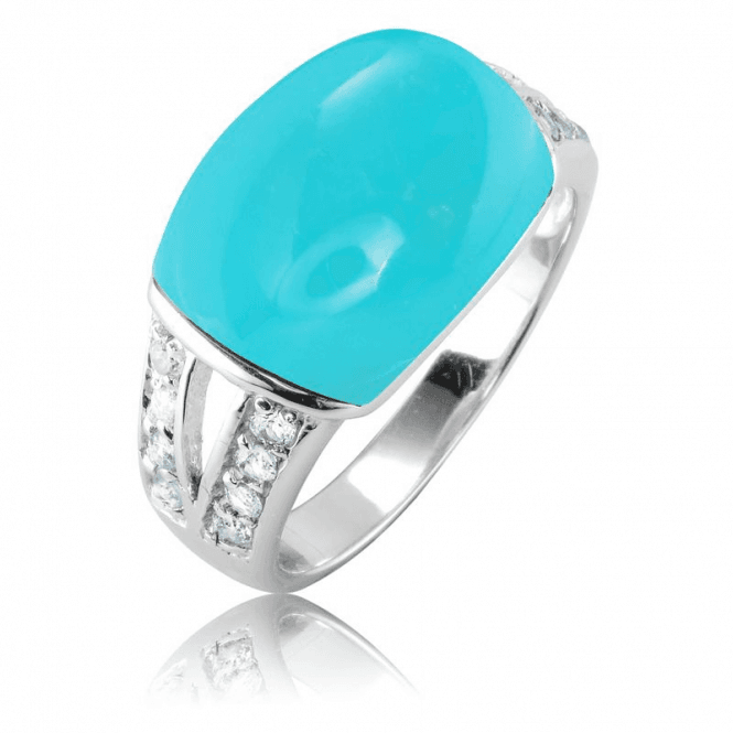 Ladies Shipton and Co Silver and Turquoise Ring TSV063TQBT