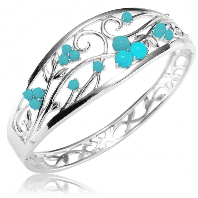 Shipton and Co Ladies Shipton and Co Silver and Turquoise Bangle GQA570TQ