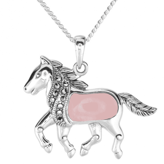 Ladies Shipton and Co Silver and Opal Horse Pendant including a 16 Silver Chain TSV058OPMM