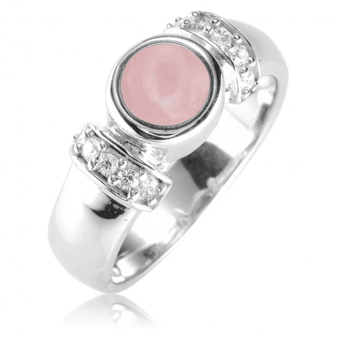 Pink Opal & White Topaz Ring