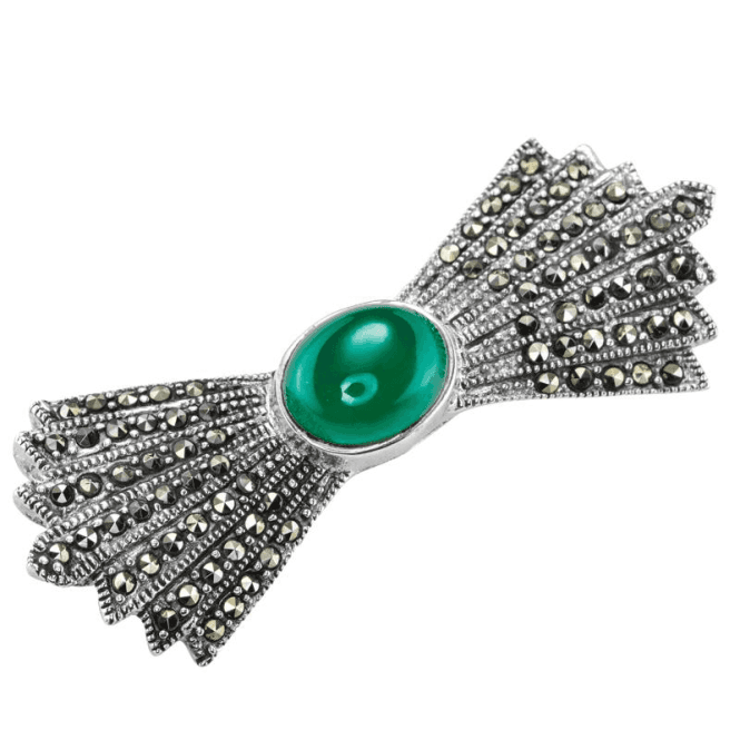 Shipton and Co Ladies Shipton and Co Silver and Green Agate Brooch TFE261GAMM