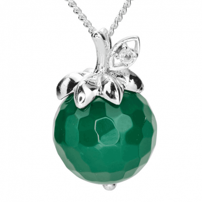 Ladies Shipton and Co Silver and Green Agate Pendant including a 16 Silver Chain TFE269GAWT