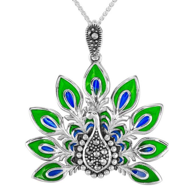 Enamel & Marcasite Peacock