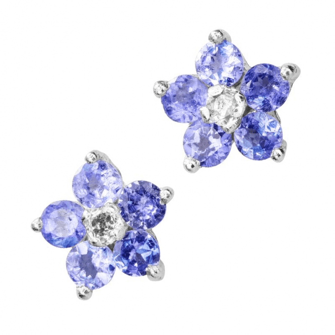 Ladies Shipton and Co Silver and Tanzanite Flower Stud Earrings TFE247TZ