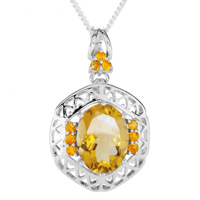 Ladies Shipton and Co Exclusive Silver and Champagne Quartz Pendant including a 16 Silver Chain PQA596CQOS