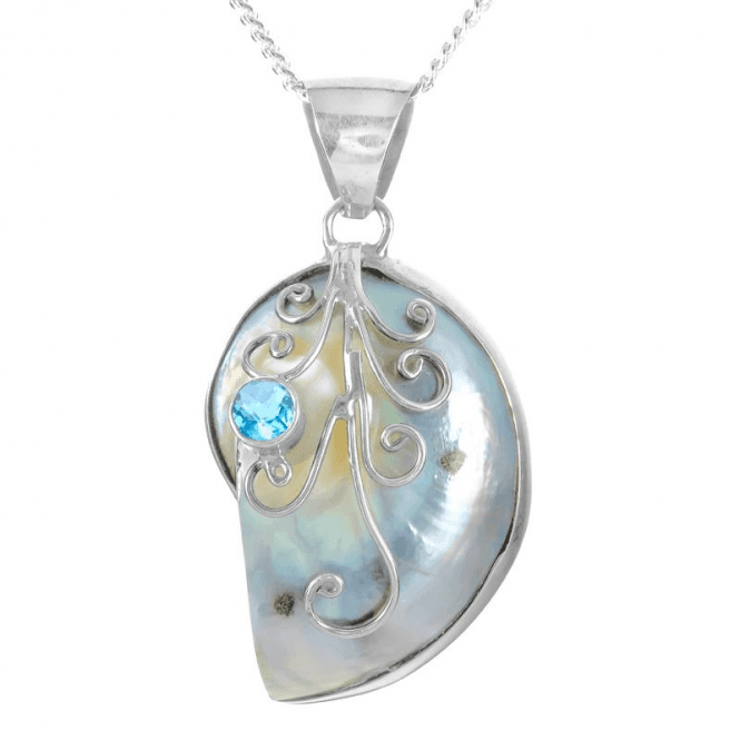 Nautilus Pendant with Blue Topaz