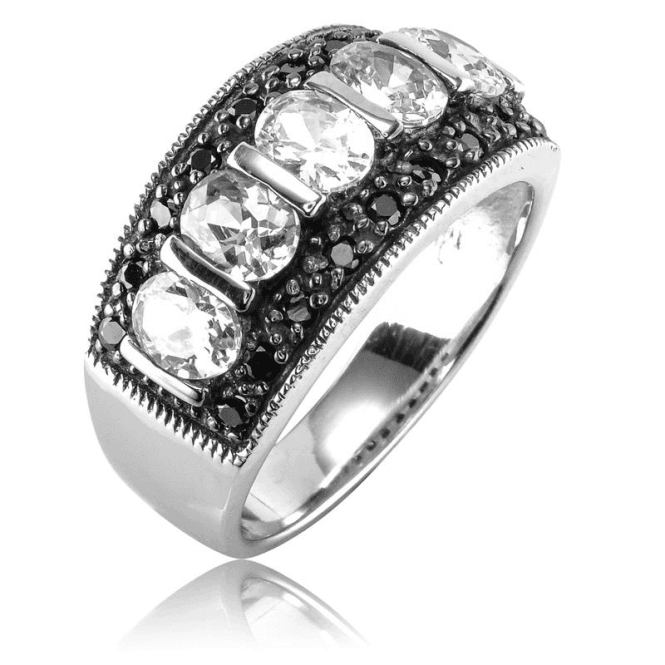 Spinel & White Topaz Half Eternity Ring