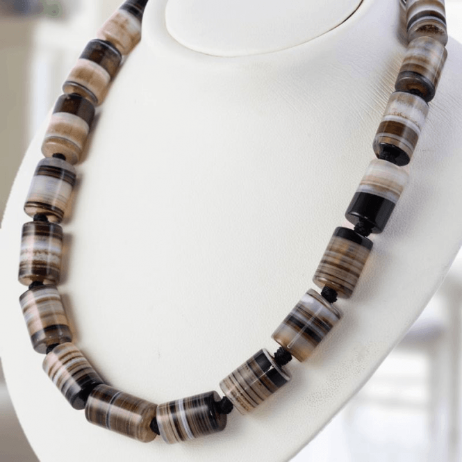 "Naturally Banded Agate on a 28"" Necklet"