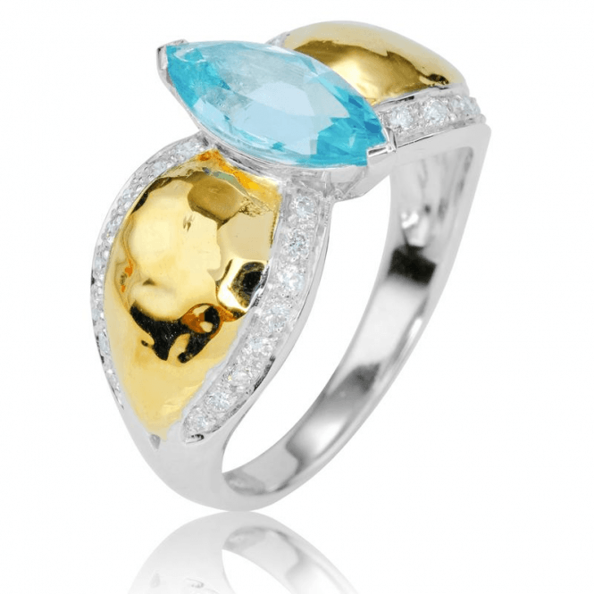 Ocean Blue Aquamarine Ring with Diamonds