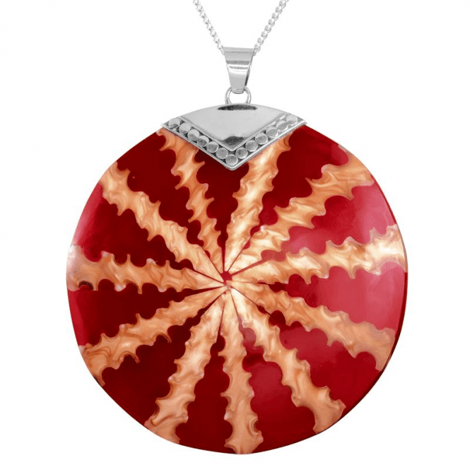 Statement Size Pendant Inlaid with Shell