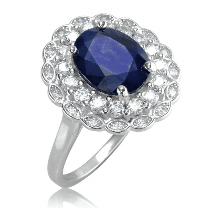 Ladies Shipton and Co Silver and Blue Sapphire Ring TFE254BSWT