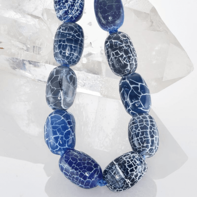 "28"" Fascination of Blue Crackle Agate Beads"
