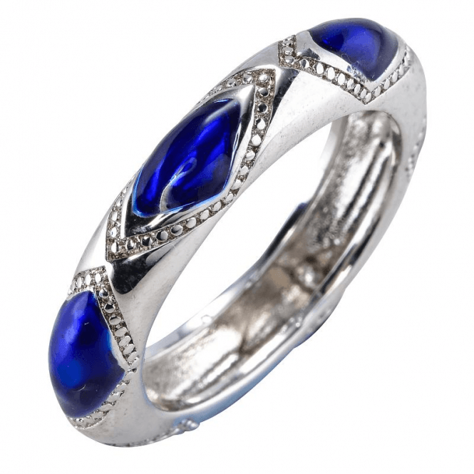 Repoussé Silver Ring Inlaid with Royal Enamel