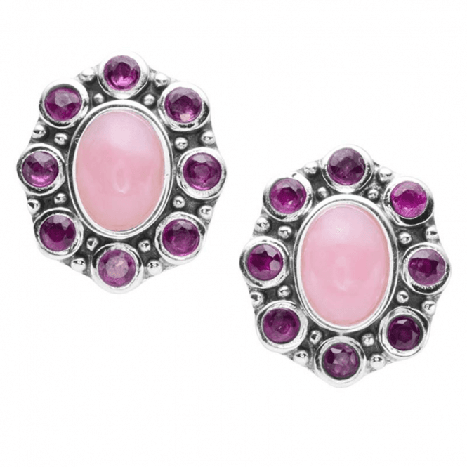 2.5ct Pink Opals Haloed by Rubies