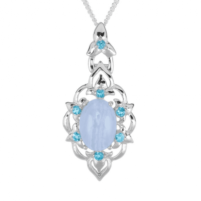 3¼ct Blue Lace Agate & Blue Topaz Pendant