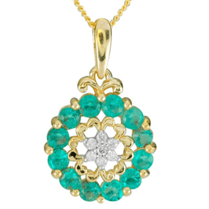 Ladies Shipton and Co 9ct Yellow Gold and Emerald Pendant including a 16 9ct Chain PYD162EMD