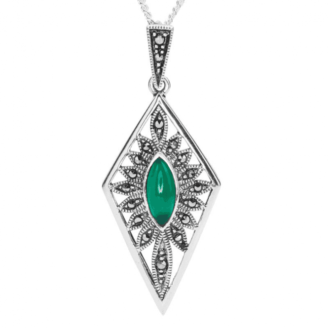Ladies Shipton and Co Silver and Green Agate Pendant including a 16 Silver Chain TFE292GAMM