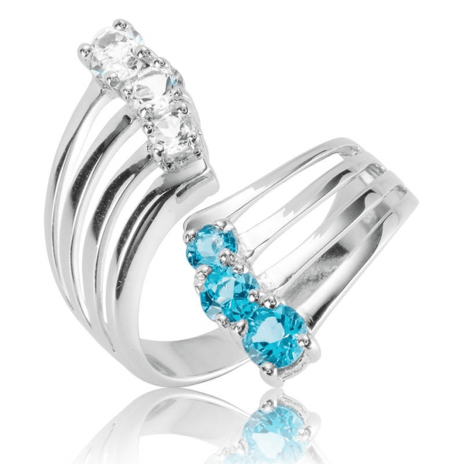 Ladies Shipton and Co Silver and Blue Topaz Ring RQA602BTWT