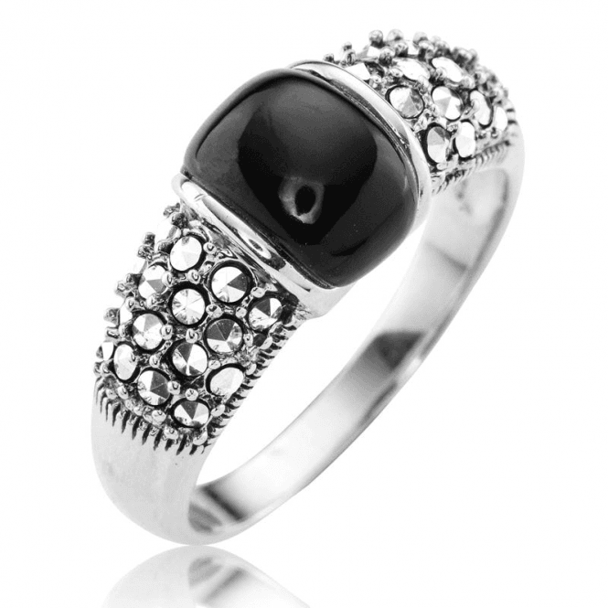 Ladies Shipton and Co Silver Onyx and Marcasite Ring TSV073ONMM