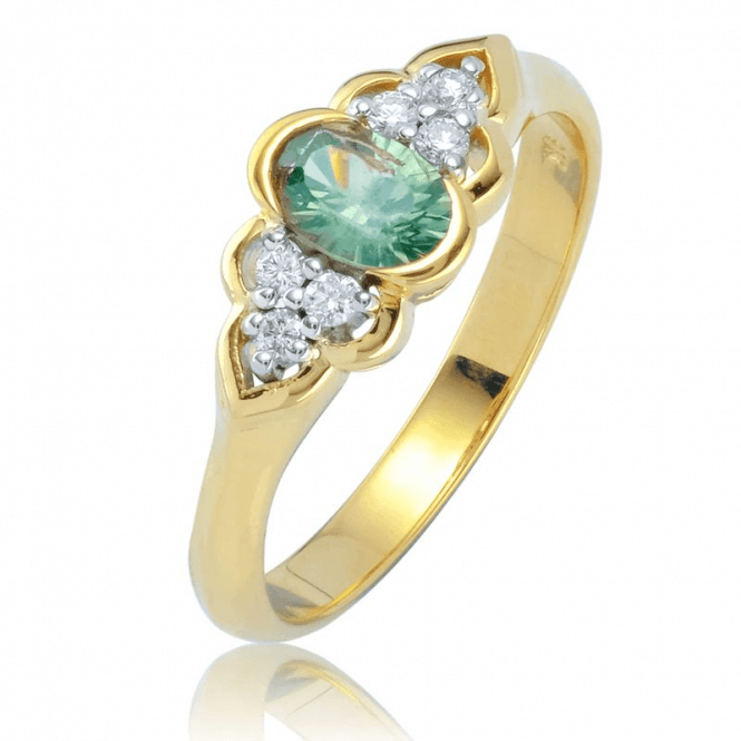Ladies Shipton and Co 9ct Yellow Gold Diamond and Green Sapphire Ring RYD167GSD