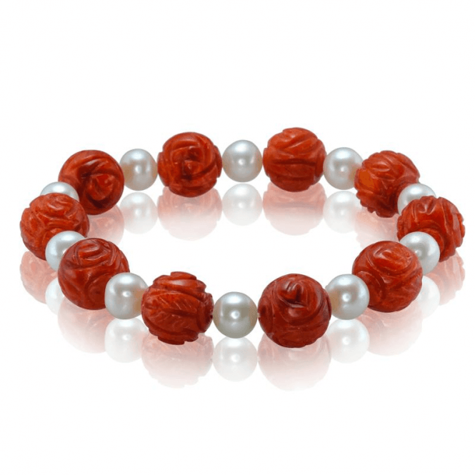 Ladies Shipton and Co Silver and Coral Beads BVL037CLFP
