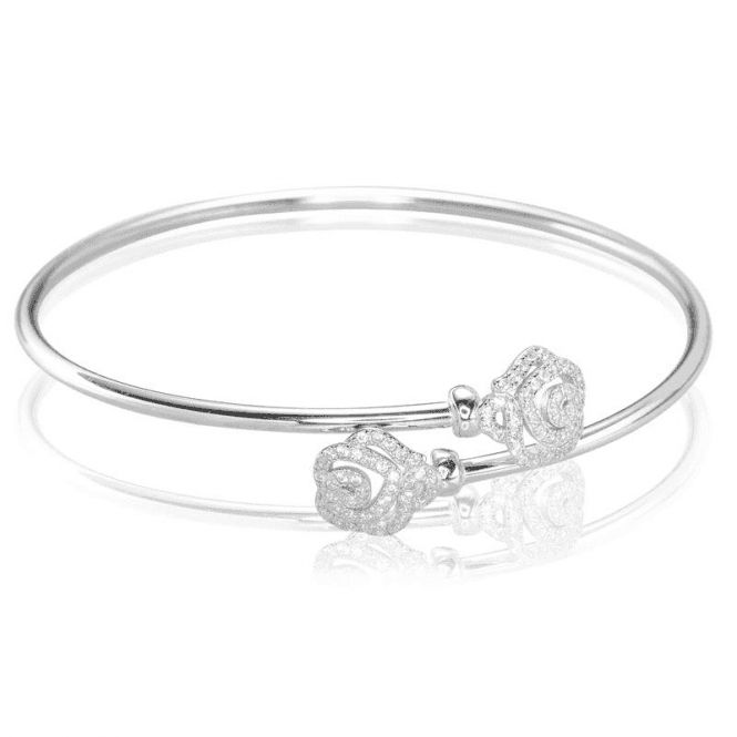 Silver Crossover Bangle of Everlasting Roses for Only £30