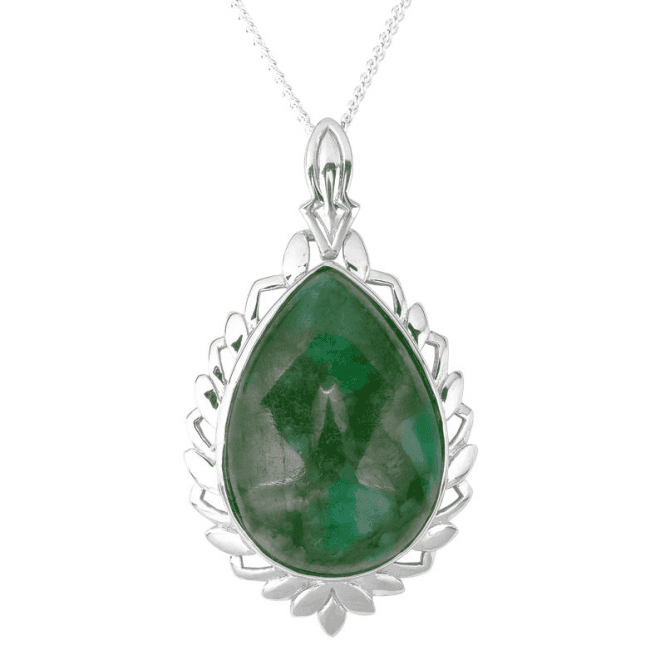 Ladies Shipton and Co Silver and Emerald Pendant PQA637EM