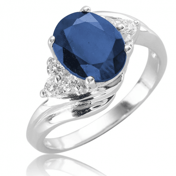 Ladies Shipton and Co Silver and Blue Sapphire Ring TFE303BSWT