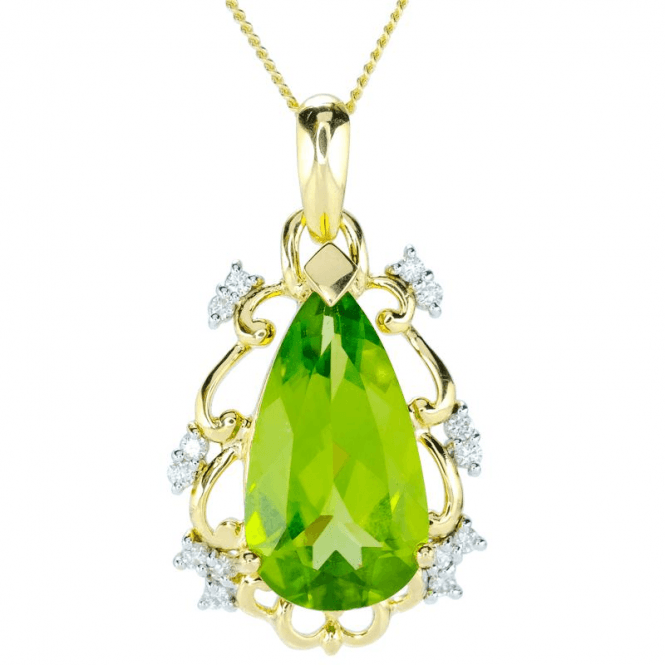 Ladies Shipton and Co 9ct Yellow Gold Diamond and Peridot Necklace PYD169PED