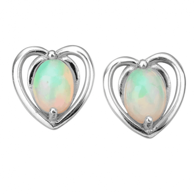 Ladies Shipton and Co Silver and Opal Earrings EQA639OP