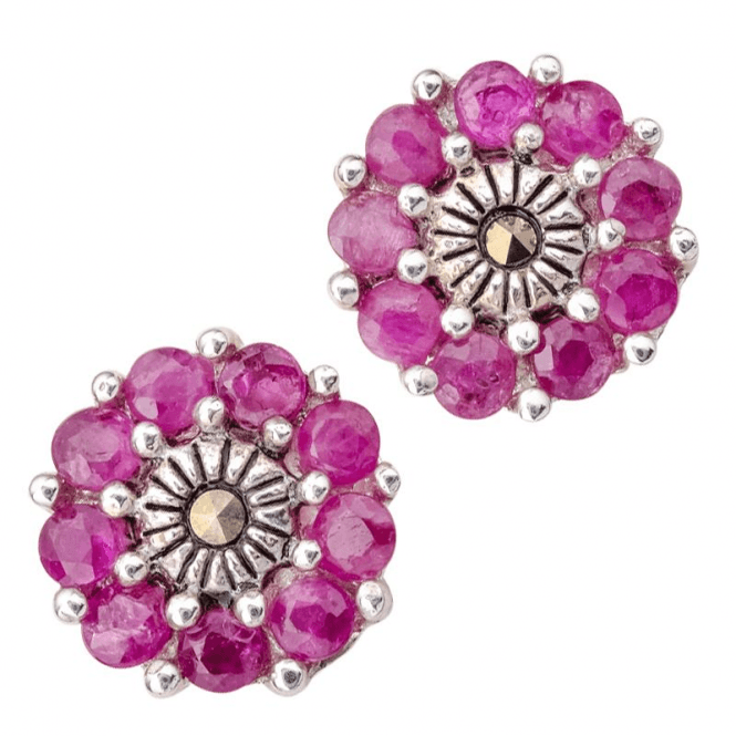 Ladies Shipton and Co Silver and Ruby Earrings TSV076RUMM