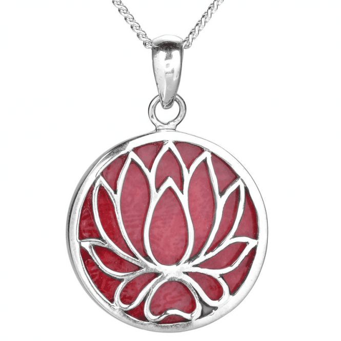 Lotus Flower in Silver & Coral