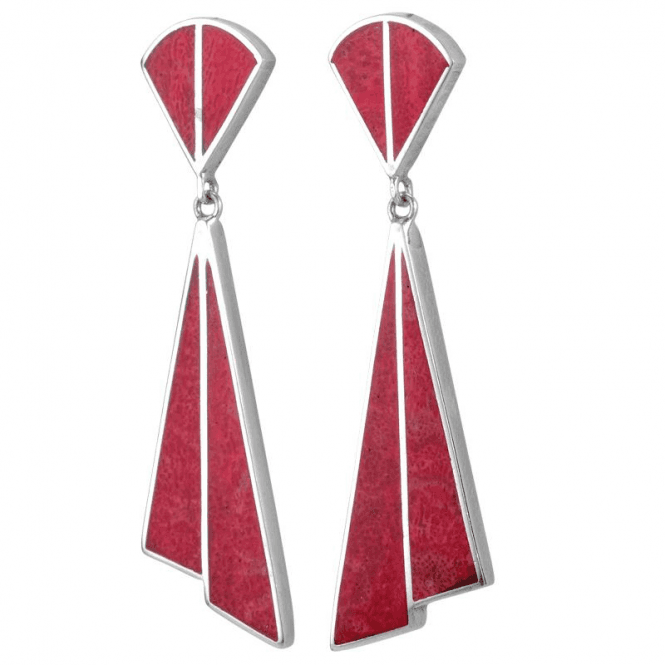 Ladies Shipton and Co Silver and Coral Drop Earrings TSS277CL
