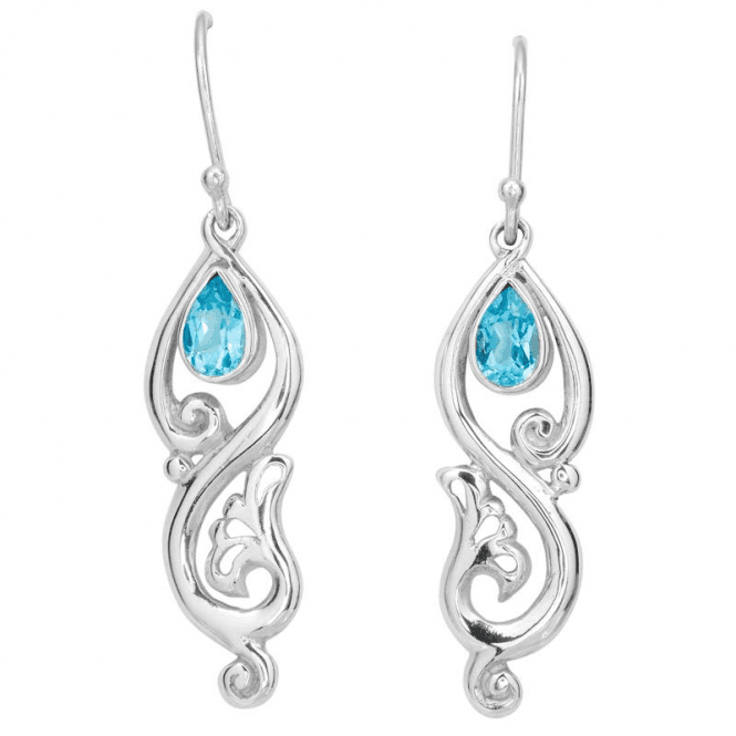 Ladies Shipton and Co Silver and Blue Topaz Earrings TSS271BT