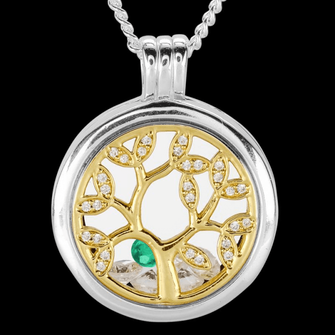 Ladies Shipton and Co Silver and Emerald Pendant TFE305EMCZ