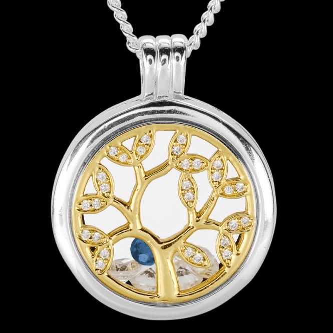 Ladies Shipton and Co Silver and Blue Sapphire Pendant TFE305BSCZ