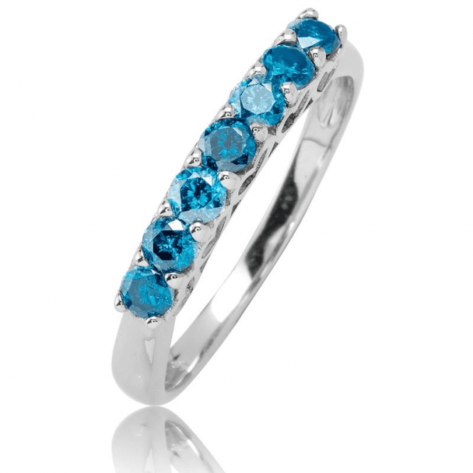 9ct White Gold Half Eternity Setting for 0.7cts of Rare Blue Diamonds
