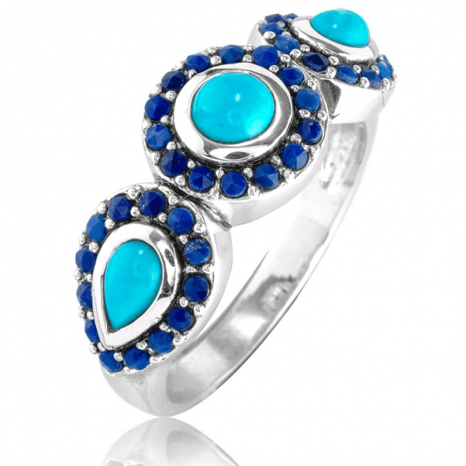 Smooth Turquoise Outlined with Lapis