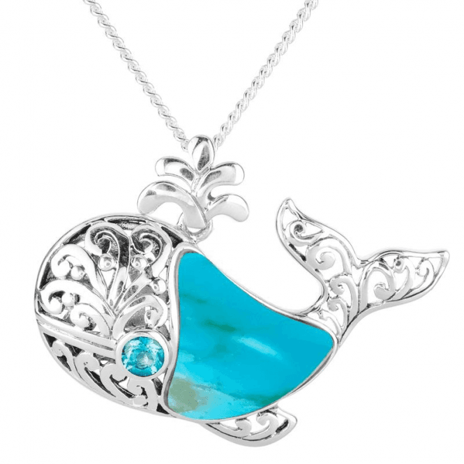 Whale Pendant with Turquoise & Swiss Blue Topaz