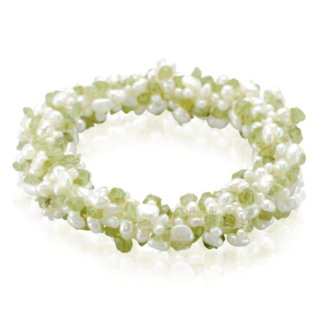 130cts of Peridot & Pearl on an Easy-fitting Stretch