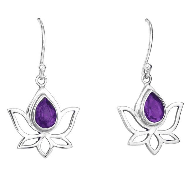 Silver & Amethyst Lotus Earrings