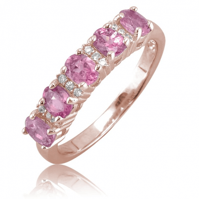 Romantic Half Eternity Ring with over 1ct of Pink Tourmaline