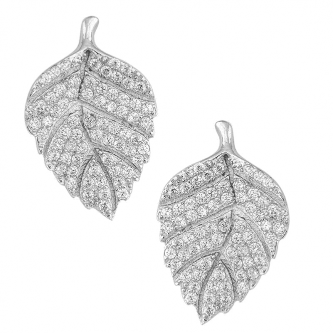 Crystal-Tipped Silver Leaf Earrings with Stud Fitting