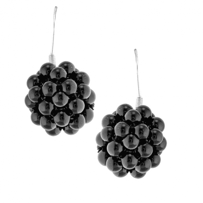 Caviar Earrings in Darkly Glossy Solid Onyx