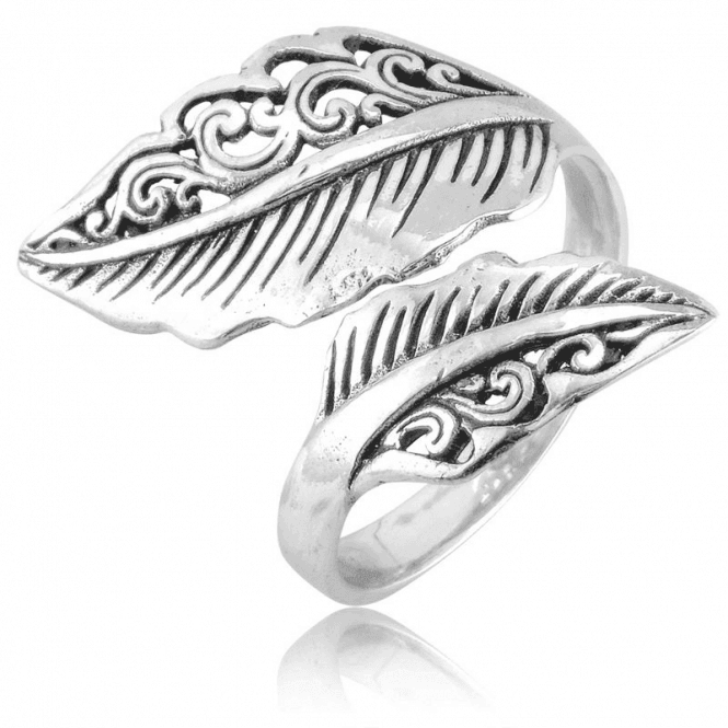 Crossover Leaf Ring with an Easy Comfort-Fit