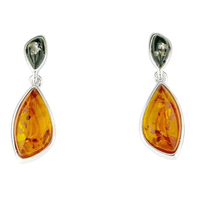 Earth Tones of Amber in Sumptuous Silver Earrings